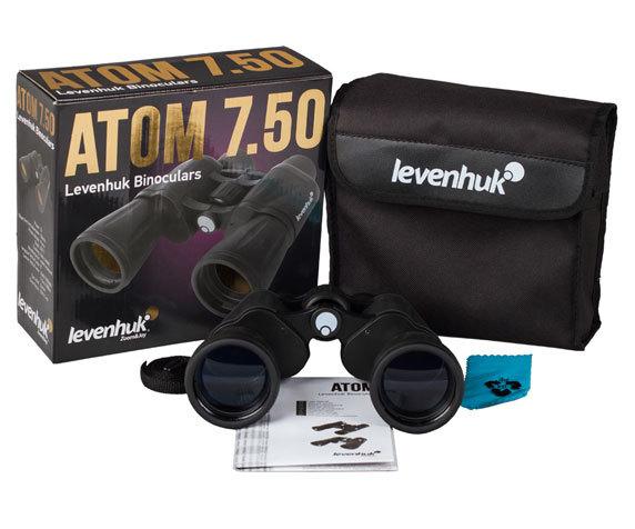 Комплект поставки бинокля Levenhuk Atom 7x50