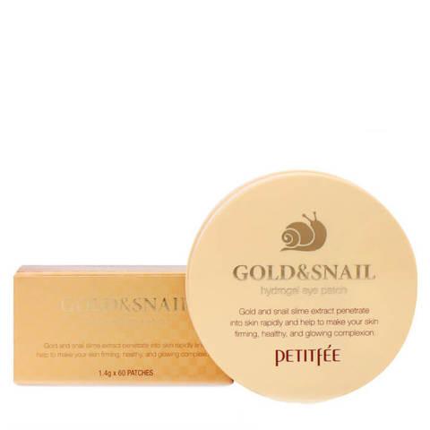 Гидрогелевые патчи для век с золотыми частицами и фильтратом муцина улитки Petitfee Gold & Snail Hydrogel Eye Patch