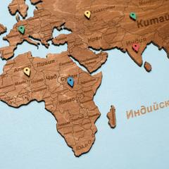 Карта мира из дерева в овальной рамке Blue фото 4