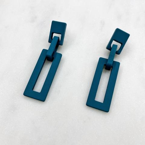 Серьги акриловые с прямоугольными подвесками (зеленый)