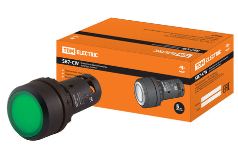 Кнопка с фиксацией SB7-CWL3365-24V(LED) d22мм 1з+1р зеленая TDM