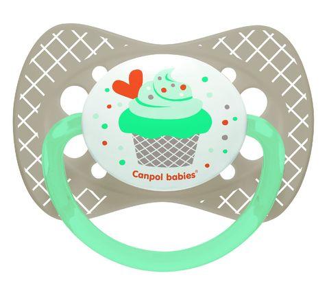 Canpol. Пустышка Cupcake симметричная силикон 0-6 мес., серый