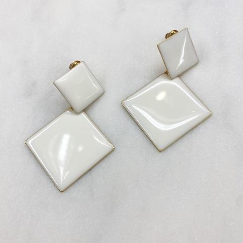 Серьги Двойные Ромбы эмаль ш925 (белый)