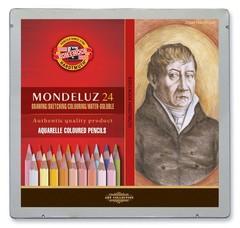 Набор художественных акварельных карандашей MONDELUZ PORTRAIT 24 цвета в металлической коробке, защищенной блистером