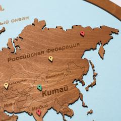 Карта мира из дерева в овальной рамке Blue фото 5