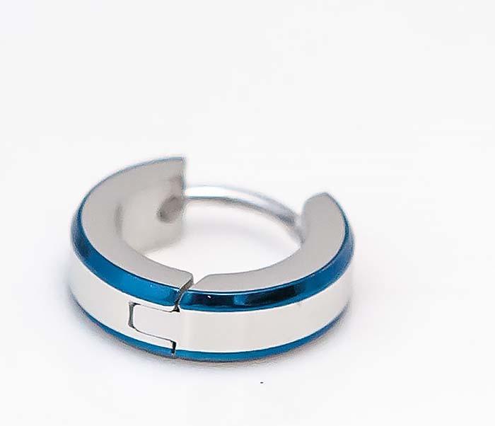 SSE-010-B Узкие серьги «Spikes» с синими полосками