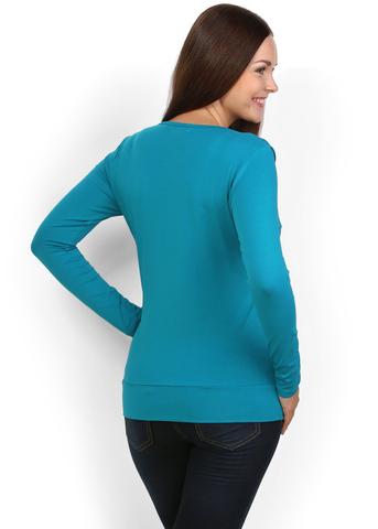 Лонгслив ЛХ03 т.бирюза для беременных и кормящих