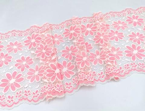 Эластичное кружево, 22,5 см, молоко и розовые цветы, (Арт: EK-2552), м