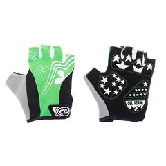Велоперчатки JAFFSON SCG 47-0122 (чёрный/белый/зелёный)