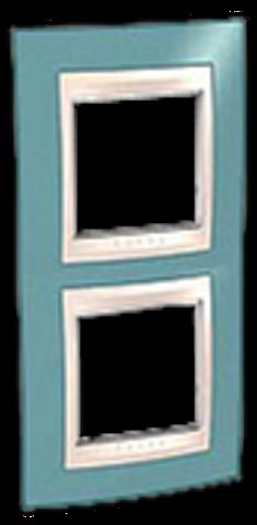 Рамка на 2 поста. Цвет вертикальная Синий/Бежевый. Schneider electric Unica Хамелеон. MGU6.004V.573