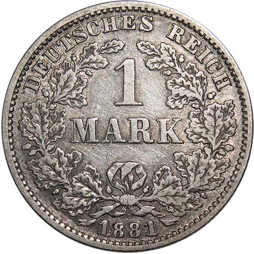 1 марка (E) Германия. 1881 г. VF