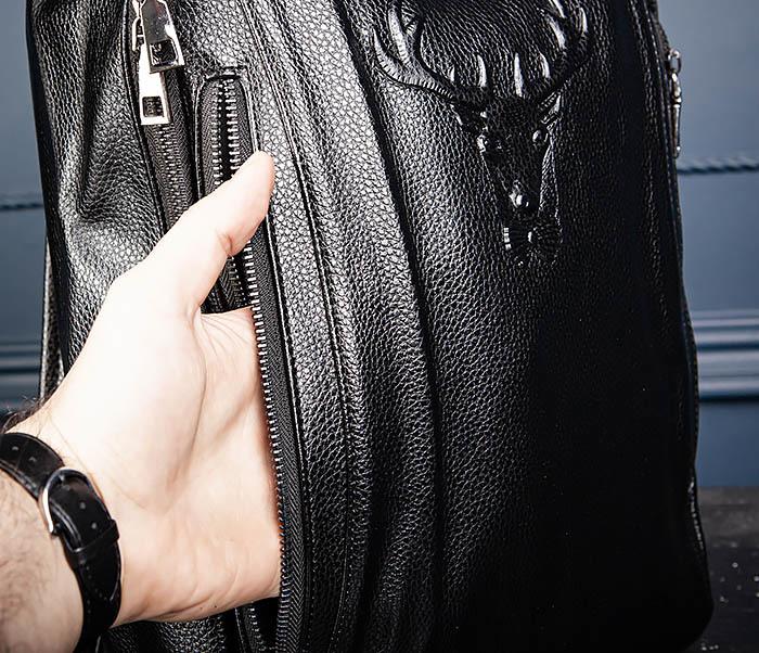 BAG557 Стильный кожаный рюкзак с оленем фото 10