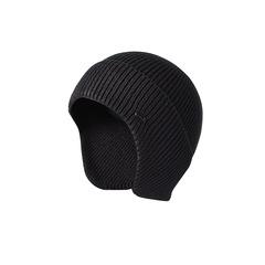 Шерстяная вязаная мужская шапка из кроличьей шерсти (Лыжная теплая шапка) черная