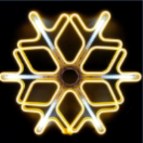 Большая фигура снежинка неон 60см с сосульками LED теплый белый