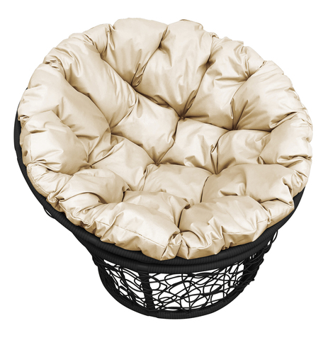 Кресло Papasan, цвет плетения черный, цвет подушки бежевый