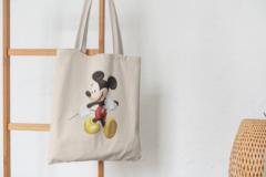 Сумка-шоппер с принтом Микки Маус (Mickey Mouse) бежевая 005