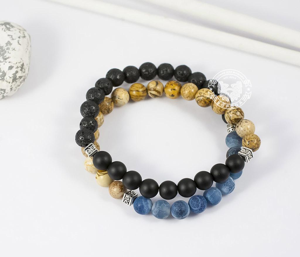 BS658 Двойной мужской браслет из шунгита, лавы, яшмы и агата. «Boroda Design»