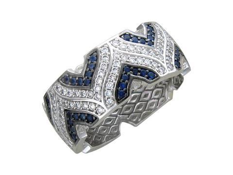 01К675786-1- Кольцо из белого золота 750 пробы с бриллиантами и сапфирами