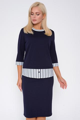 <p>Модный блузон в сочетании с классической юбкой на резинке. Отличный офисный вариант для истинной леди. (Длины: Жакет/Юбка 46-48=61/61см; 50-52=65/62см)</p>