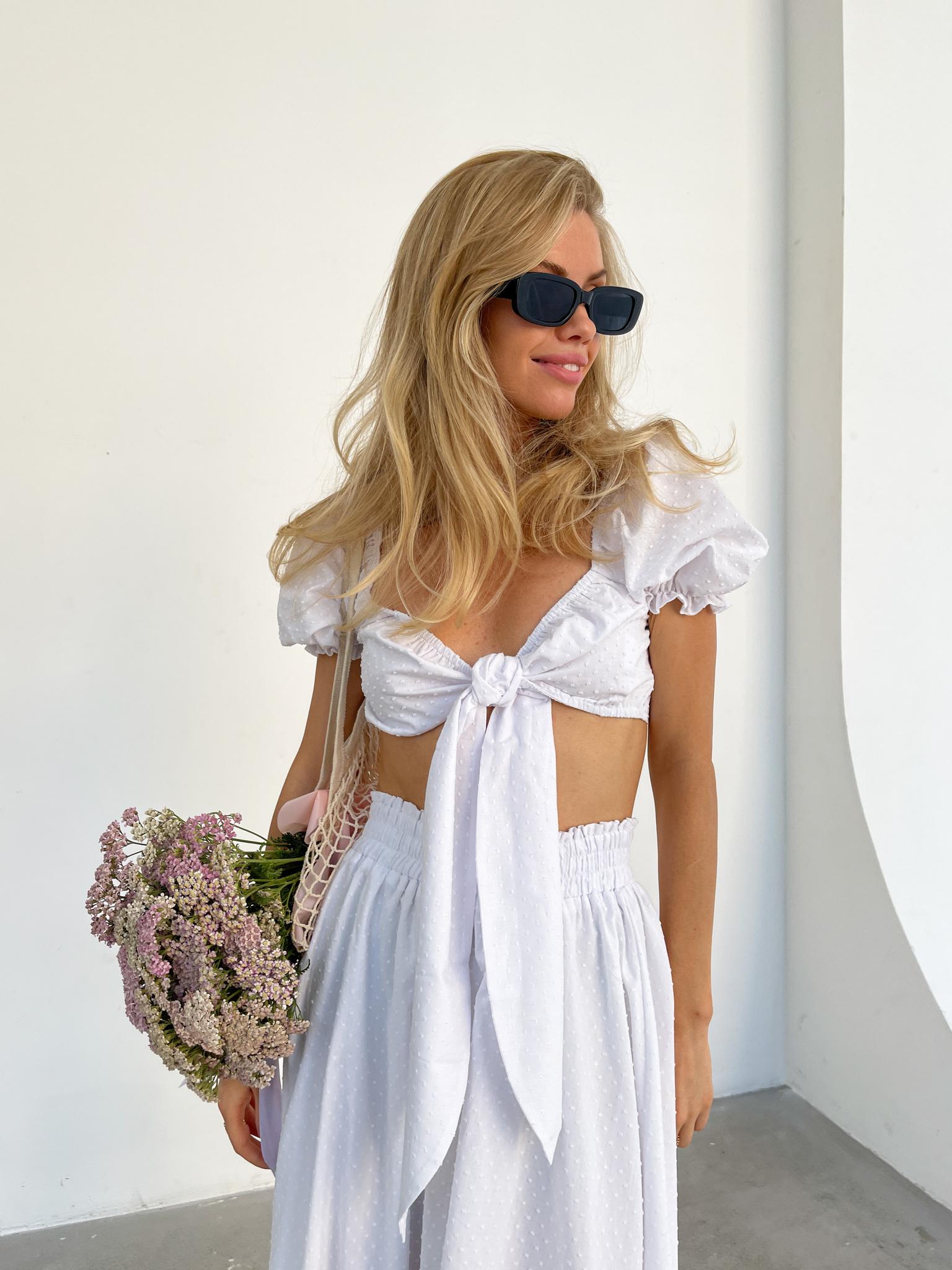 Костюм из хлопка: юбка и топ (белый)