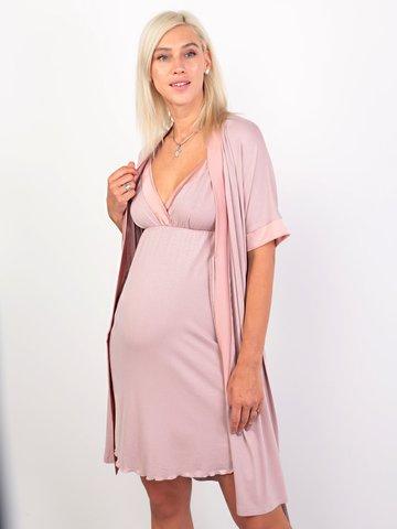 Euromama/Евромама. Комплект халат и сорочка вискозный шелк, сухая роза