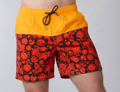 """Swim shorts """"Red-yellow khokhloma"""""""