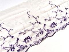 Вышивка на сетке, ПРАВАЯ, 18 см, шампань/фиолетовый, (Арт: VS-1023), м