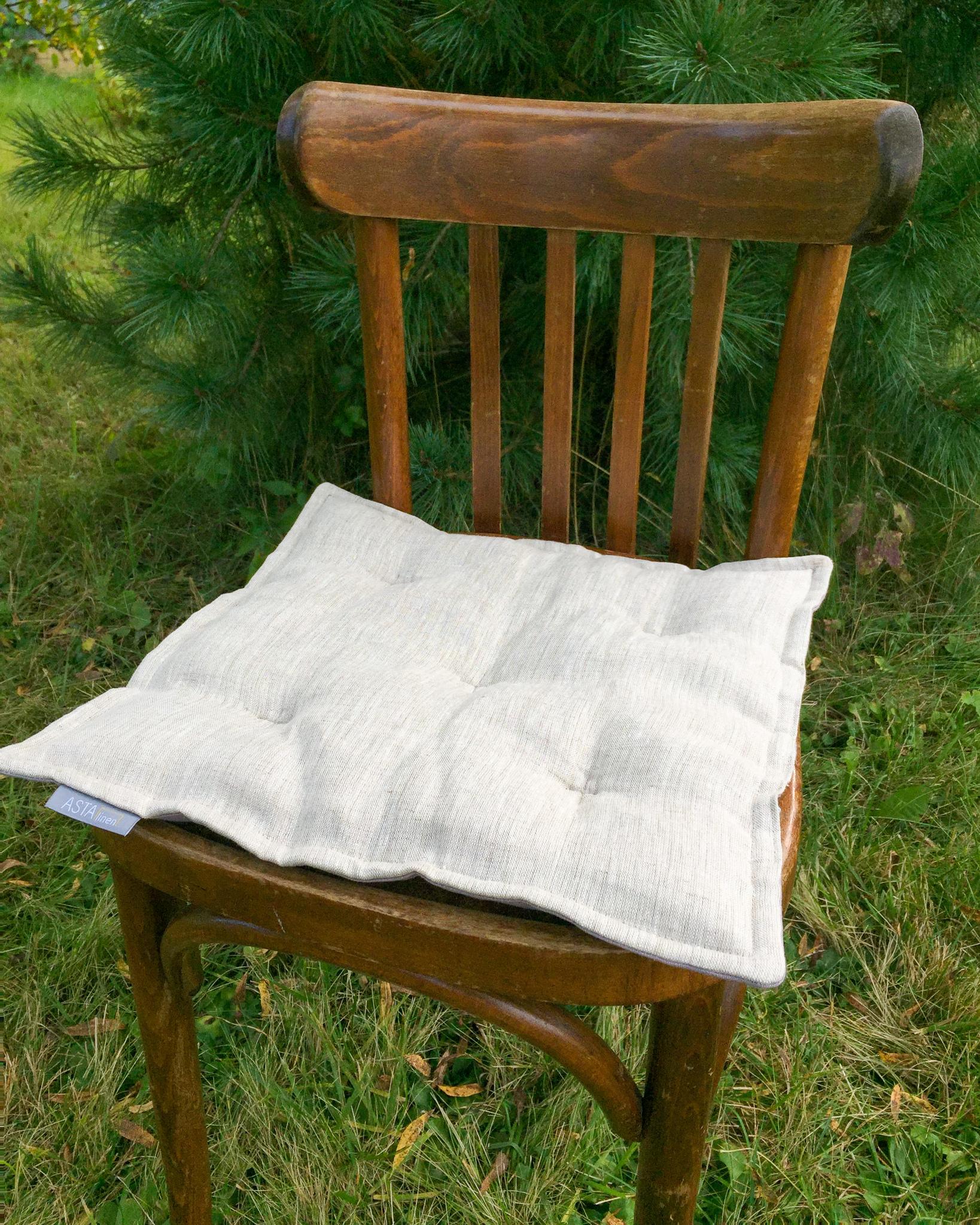 Подушка на стул льняная