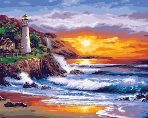 Алмазная Мозаика 40x50 Маяк на берегу океана (арт. SGL73619 )