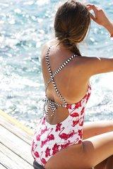 купальник слитный белый с принтом фламинго розовый 5