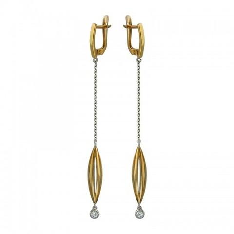 01С158193А -Серьги из золочёного серебра с подвесками