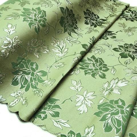 Портьерная ткань с люрексом 150 см H627 цвет 4 зелёный цветы