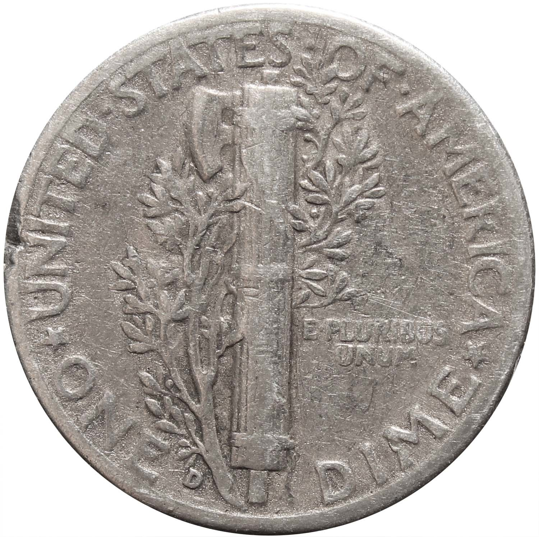 1 дайм (10 центов) 1945. США F-VF (Меркурий) Серебро