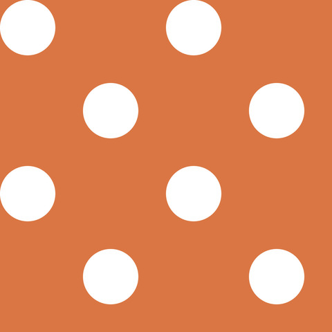 Креп сатин оранжевый в белый горох 1 см