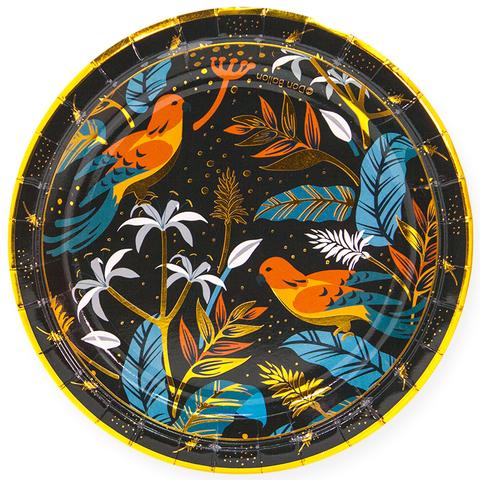 Тарелки (7''/18 см) Райские птицы, Золото/Черный, 6 шт.