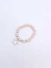Кольцо из бело-розового хрусталя с подвеской из серебра