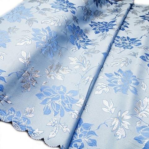 Портьерная ткань с люрексом 150 см H627 цвет 3 голубой цветы
