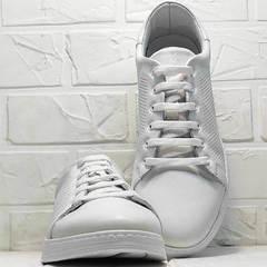 Летние кроссовки туфли кожаные женские с перфорацией Evromoda 141-1511 White Leather.