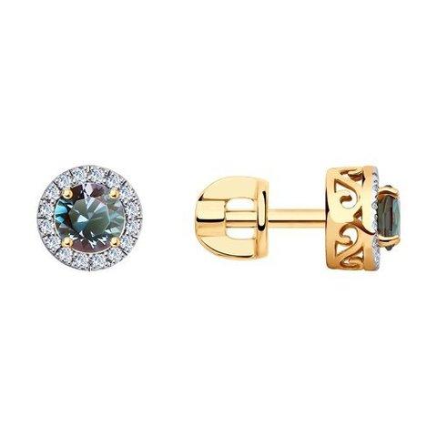 6024225 - Серьги из золота  с бриллиантами и александритами