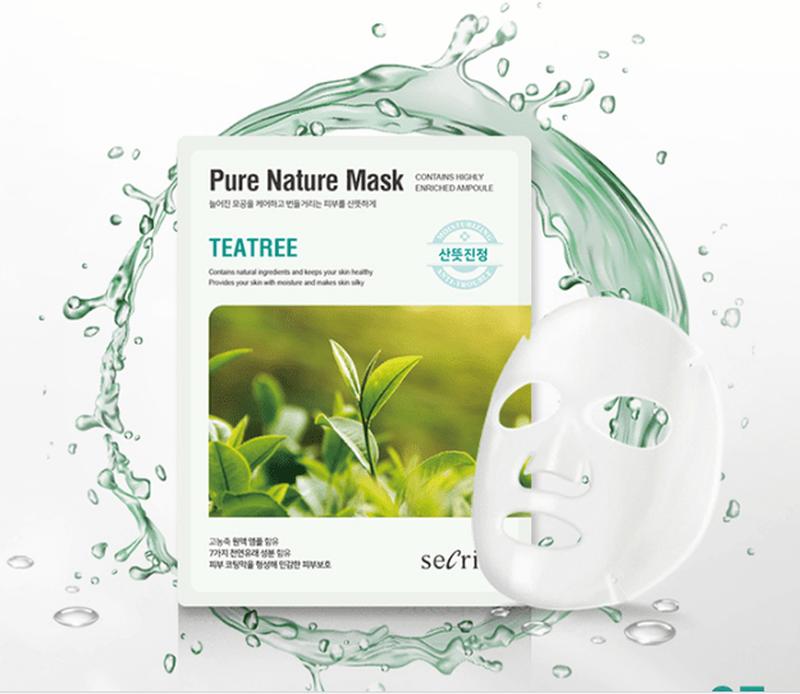 Тканевая маска для лица с экстрактом чайного дерева Secriss Sheet Mask - Teatree