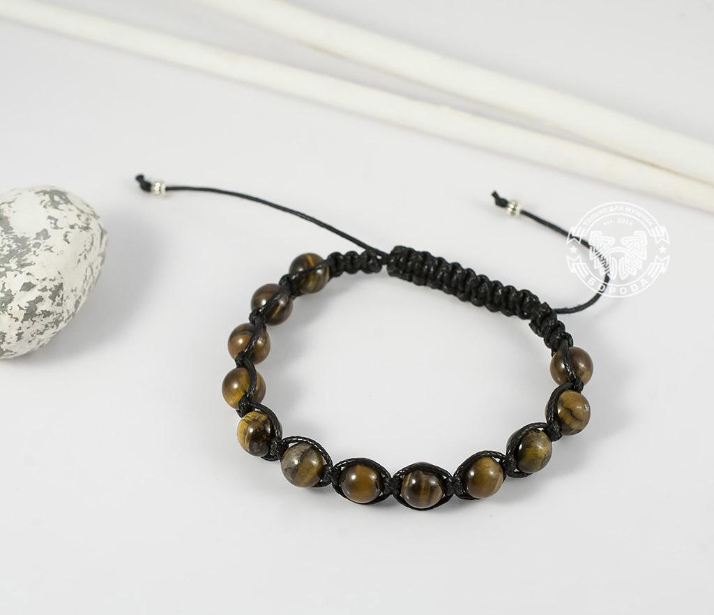 BS660 Стильный мужской браслет ручной работы из камня -тигрового глаза. «Boroda Design»