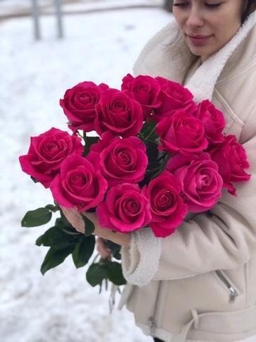 13 розовых роз 80 см  #1987