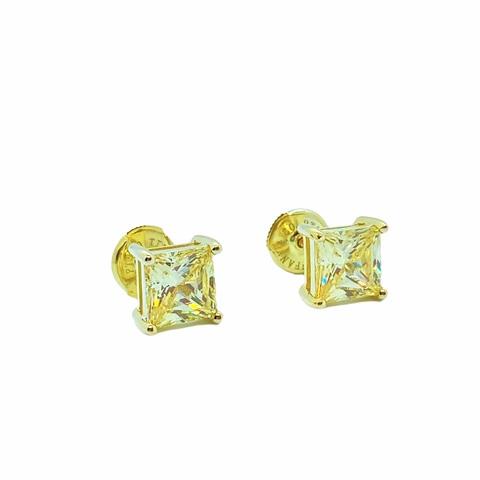 85422 - Серьги-гвоздики из серебра в лимонной позолоте с квадратными, желтыми цирконами lux