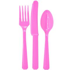 Столовые приборы пластик Темно-розовый (Фуксия) / Bright Pink / 24 шт.