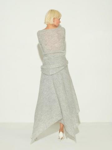 Женский шарф серого цвета из мохера и шерсти - фото 4