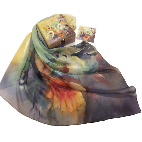 Шкатулка расписная и платок батик Акварель