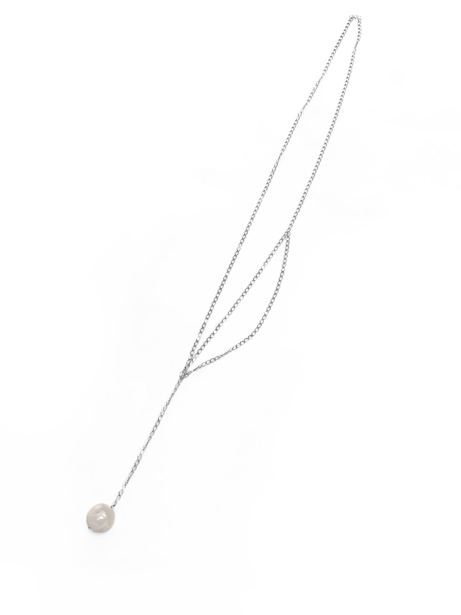 Серебрное колье-галстук с барочным жемчугом