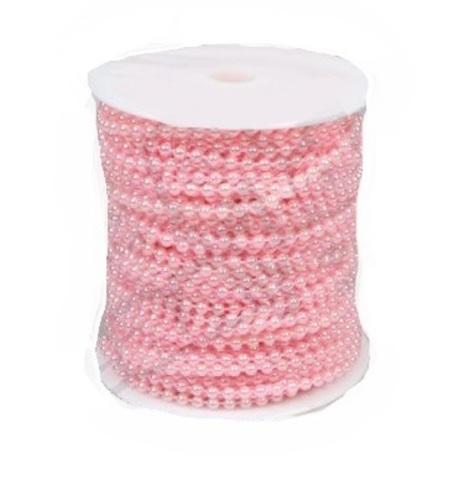 Бусы на бобине (размер: 4мм х 40м) Цвет:светло-розовый
