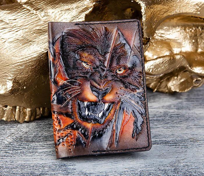 BC176 Крутая обложка на паспорт со львом фото 02
