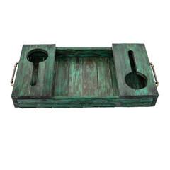 Поднос для вина из дерева, зеленый, фото 2